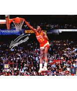 Dominique Wilkins Signed Atlanta Hawks One Hand Slam Dunk 8x10 Photo - £38.43 GBP