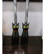 """Halloween Black Cat Taper Candle Holder New 7.5"""" Set of 2 - $24.99"""