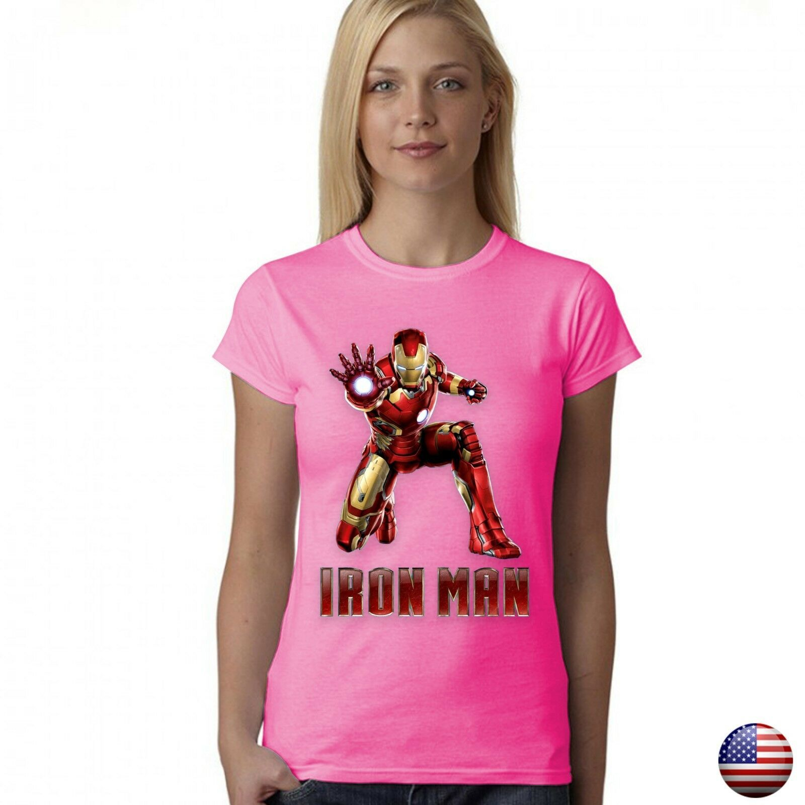 IRON MAN LEAGUE SUPERHERO LOGO WOMEN JUNIOR FIT PINK T-SHIRT 192