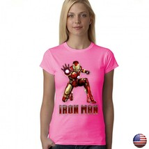 IRON MAN LEAGUE SUPERHERO LOGO WOMEN JUNIOR FIT PINK T-SHIRT 192 image 1