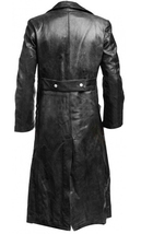 German Classic WW2 Military Officer Uniform Black Costume Leather Trench Coat image 3