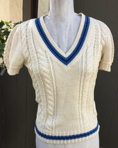 Ralph Lauren Rugby Cable Knit Sweater S V Neck Puff Sleeve Varsity Strip... - $43.56