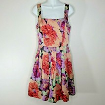 Betsey Johnson Floral Fit Flare Sleeveless Dress Pink Purple 8 Satin Watercolor - $79.15