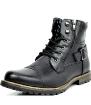 Bruno Marc Men's Motorcycle Combat Boots,Leather Boots - $84.00