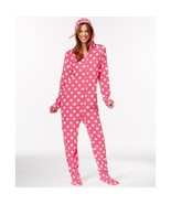 Jenni by Jennifer Moore Pattern Hooded Footed Jumper, Pink Dot, Size Large - $24.74