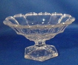 "Heisey Marked Compote - Crystal Paneled Scalloped Edge 6 Sided Base 3"" Tall - $6.44"