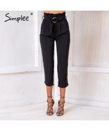 High waist zipper casual pants Women summer style belt pants with FREE GIFT - $24.99