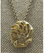 VTG Gold Tone Clear Rhinestone Flower Necklace Signed! - $19.80