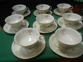 Beautiful Theodore Haviland New York Gloria ..Set Of 8 Cups & Saucers - $49.09
