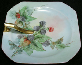 Hand Painted Berries Candy Dish Fruit Plate 5.5 Inch Porcelain Japan Gil... - $29.99