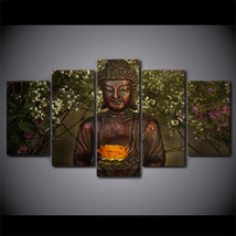 5 Pcs Buddha Lotus Flower Home Decor Wall Picture Printed Canvas Painting - $45.99+