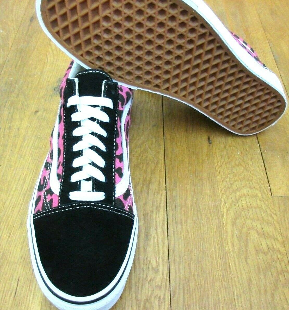 Vans Mens Old Skool Leopard Pink Black Canvas Suede Skate shoes Size 9 NWT
