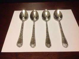 "Rogers & Son Silverplated ""Enchanted Rose"" Lot Of 4 Oval Soup Spoons New - $14.99"