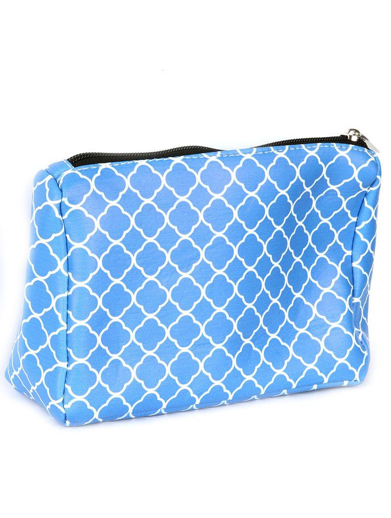 Quatrefoil Print Cosmetic Makeup Bag or Pouch Wallet Clutch Purse Blue