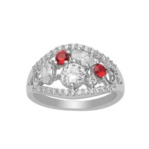 925 Fine Silver Garnet White Cubic Zircon Gemstone Women Cluster Stateme... - $19.98