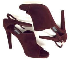 New PRADA Size 9 Burgundy Suede Open Toe Ankle Strap Heels Sandals Shoes 40 image 4
