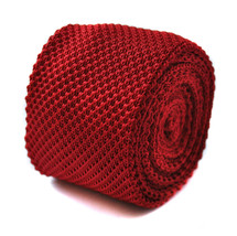 Frederick Thomas Knitted Plain Red Mens Tie FT276 Labour Party Election Vote