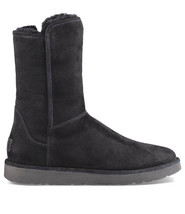 Ugg Collection Abree Short Nero Black Suede Shearling Boots, Us 5/ Eur 36 ~New - $150.00