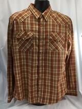Levi's Mens Large Western Snap Button Modern Fit Rust Plaid Shirt Vintage - $24.75