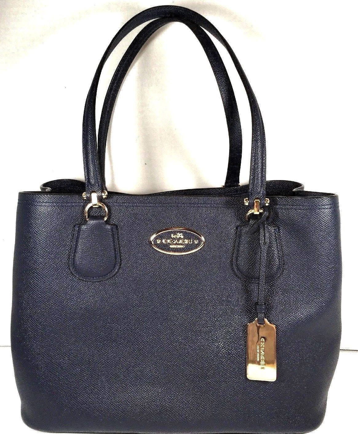 Coach Kitt Carryall Tote Navy Blue Crossgrain Leather Gold Tone HW with Dustbag