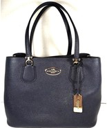Coach Kitt Carryall Tote Navy Blue Crossgrain Leather Gold Tone HW with ... - $180.41