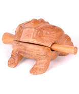Vintage Hand Carved Wood Frog Rasp Percussion Musical Instrument Tone Bl... - $22.43