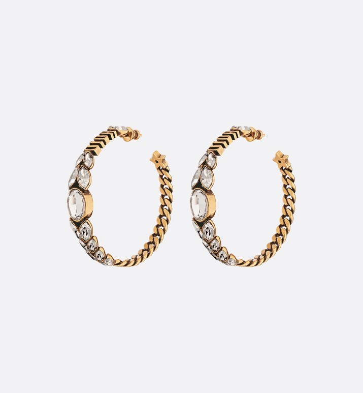 AUTH NEW Christian Dior 2019 Dio(r)evolution CRYSTAL AGED GOLD HOOP EARRINGS
