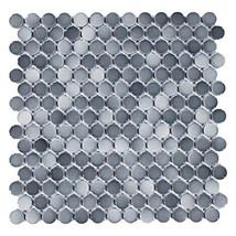Vogue Tile Mix Dark Gray Penny Round Porcelain Mosaic Box of 10 Sheets, Floor an