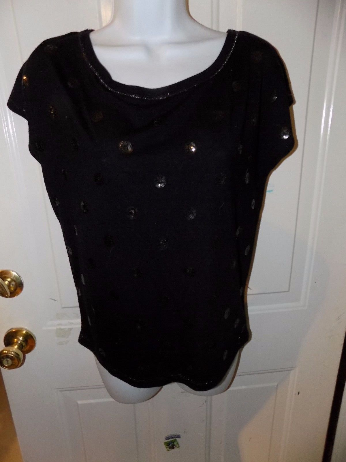 Primary image for AEROPOSTALE BLACK SEQUIN DOT SHIRT TOP TEE SIZE S WOMEN'S EUC
