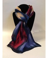 Hand Painted Silk Scarf Beet Red Blueberry Tan Ladies Oblong Hair Neck New Gift - $56.00