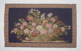 Fine Authentic Italian Tapestry Flower Picnic Basket on a Blue Backgroun... - $82.06