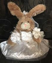 Build a Bear Bunny Rabbit Floppy Ears White Wedding Dress 19' Plush Stuffed - $9.99