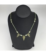 "13g,2mm-25mm, Small Green Nephrite Jade Arrowhead Beaded Necklace,19"",NP... - $4.75"