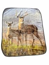 Vtg Northwest Company Blanket Buck Doe Deer James Hartman Fleece Throw H... - $49.49