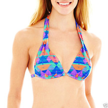 Arizona Tribal Print Molded Pushup Halter Bra Swim Top Size S New Msrp $... - $12.99