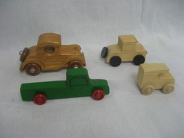 Set of Four (4) Wood Cars and Trucks Hand Made Toys - $13.98