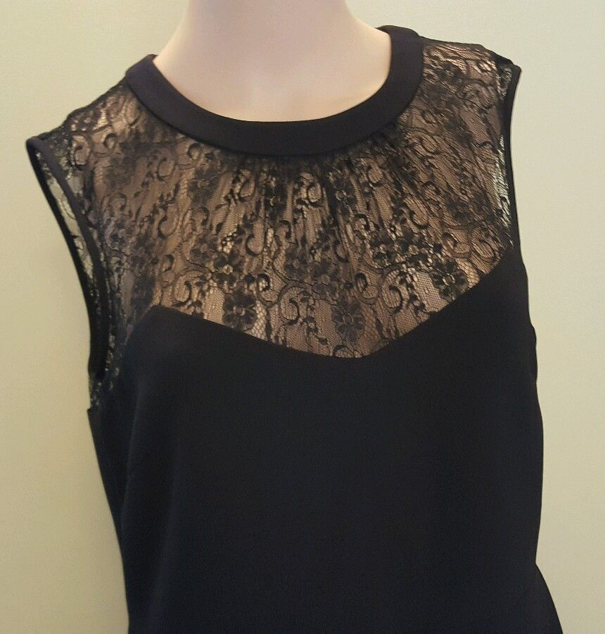 Anne Klein Women Illusion lace Sweetheart Black Sleeveless Dress Size 4 $139