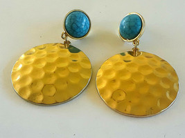 Gold Tone Hammered Faux Turquoise Earrings - $2.99