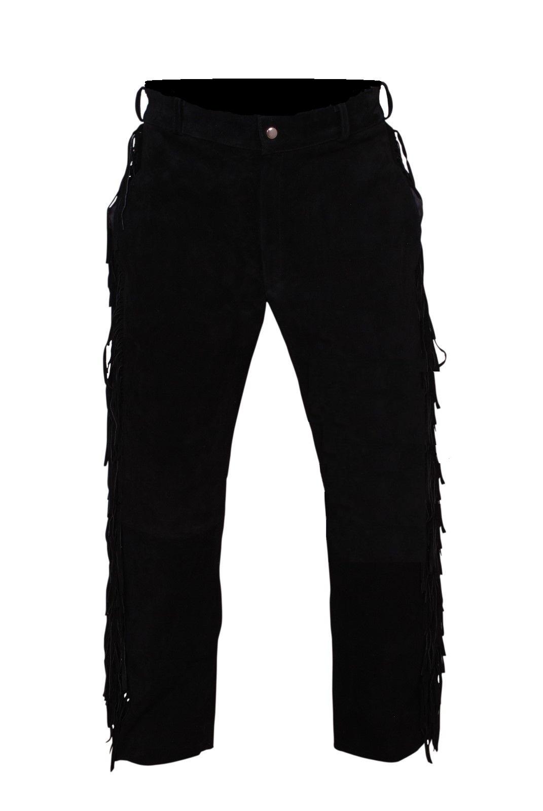 Men New Native American Buckskin Black Goat Suede Leather Bead Shirt & Pant WS69 image 7