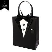 Crisky Classic Black Tuxedo Gift Bags for Groomsman Father's Birthday Anniversar