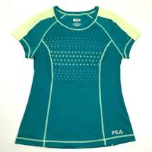 FILA Womens Green Performance Shirt Dry Fit Short Sleeve Size M Gym Athl... - $17.83