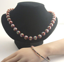 Vintage Cloisonne Red Bead Hand Knotted Necklace & Bangle - $69.00