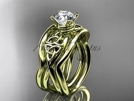 Three rings engagement ring set, 14kt yellow celtic trinity knot engagement ring - $1,335.00