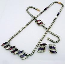 Vintage CZECH Rhinestone Necklace Bracelet Earrings 3pc Set Purple & Clear - $39.95