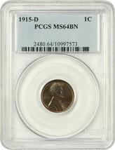 1915-D 1c PCGS MS64 BN - Lincoln Cent - $174.60