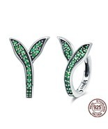 Women 925 Sterling Silver Earrings Spring Collection Flower Buds Green C... - €18,27 EUR