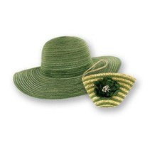 Sun Lily Foldable Compact Wide Brim Floppy Summer Hat With Straw Wrislet... - $14.95
