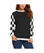 Black with Black and White Checker Sleeves Women's Long Sleeve Sweatshirt - $51.99