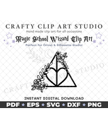 Floral Heart Hallows - Magic Clip Art: SVD DXF PNG & More + 2 FREE Fonts! - $4.99