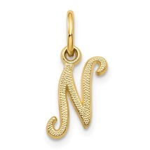 14k Yellow Gold Casted Initial N Charm Pendant 0.63 Inch - $41.68